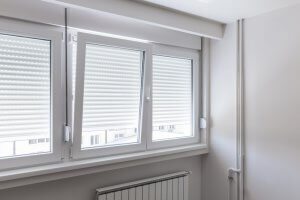 windows with metal blinds
