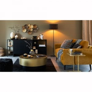 circular gold table in living room