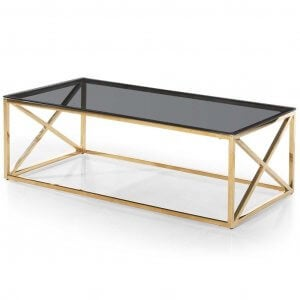 glass table with gold legs