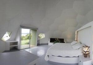 bedroom with hexagonal panels