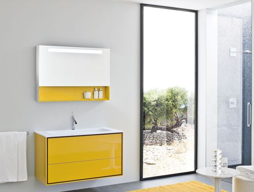 bathroom with yellow cupboards