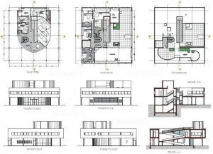 a picture of the blueprints for Villa Savoye