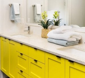 yellow bathroom drawers