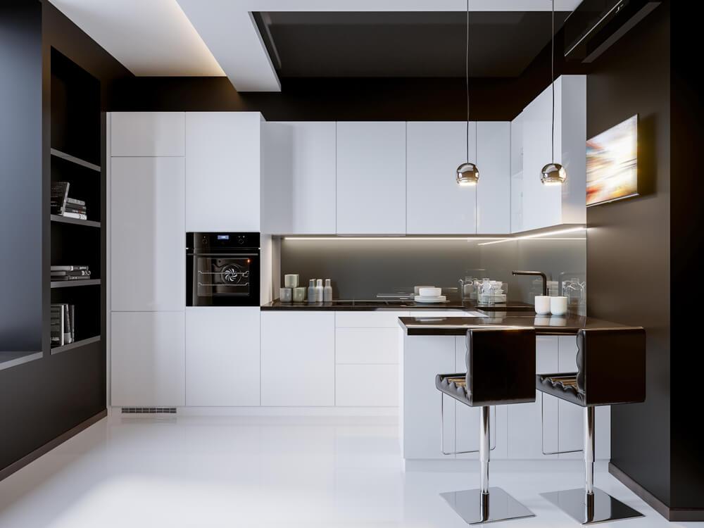 black walls kitchen