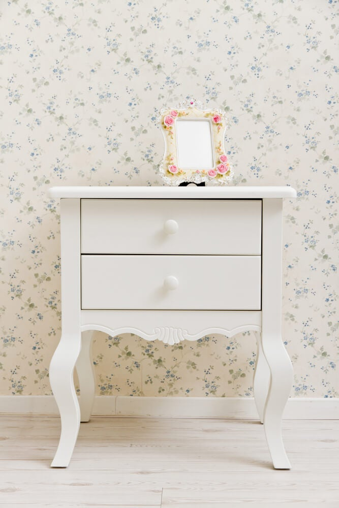 A bedside table with a classic design.