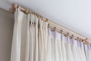 A close-up image of double-rod curtains.