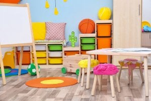 A picture of children's furniture in a toy library.