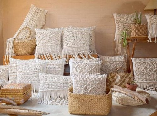 Macrame cushions are featured with different designs to create a theme