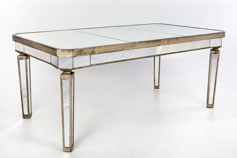 Some mirror top tables, like this one, also have mirrored legs and sides.