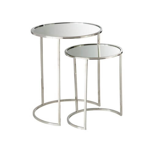 A pair of mirror top end tables.