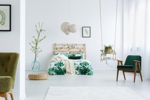 A nature themed bedroom with a practical swing shelf