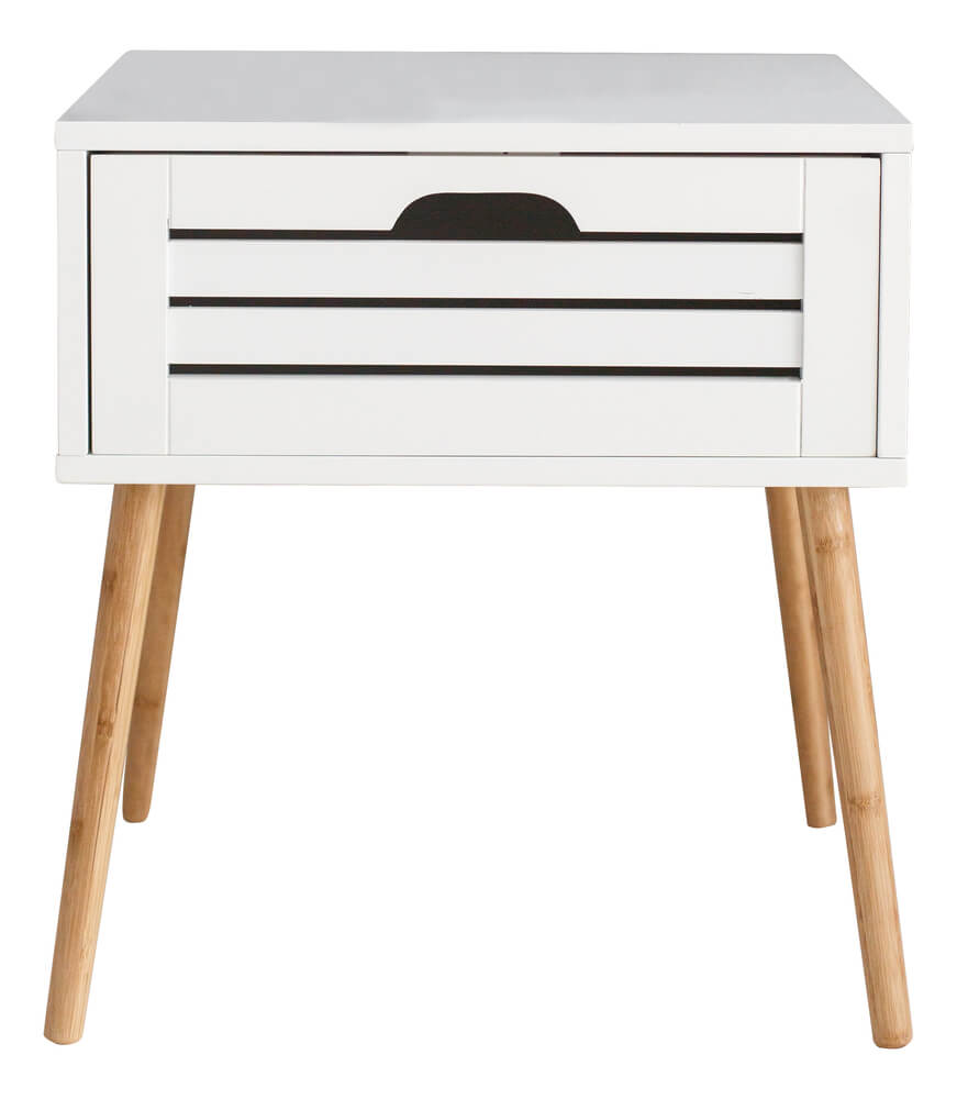 This is a white bedside table with natural legs.