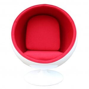 Red and white ball chair.