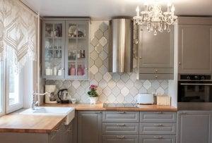 A bright kitchen.