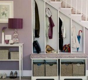 An entryway closet.