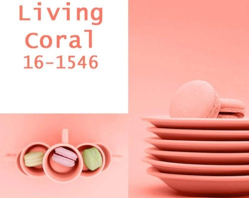 Coral colored plates, cups, and macaroons.
