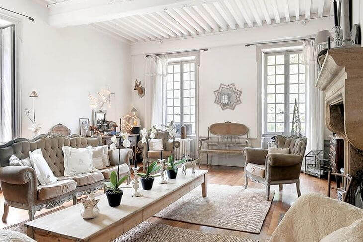 French decor style living room