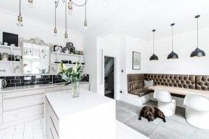 White kitchen furniture.