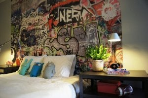 Graffiti wall decor.