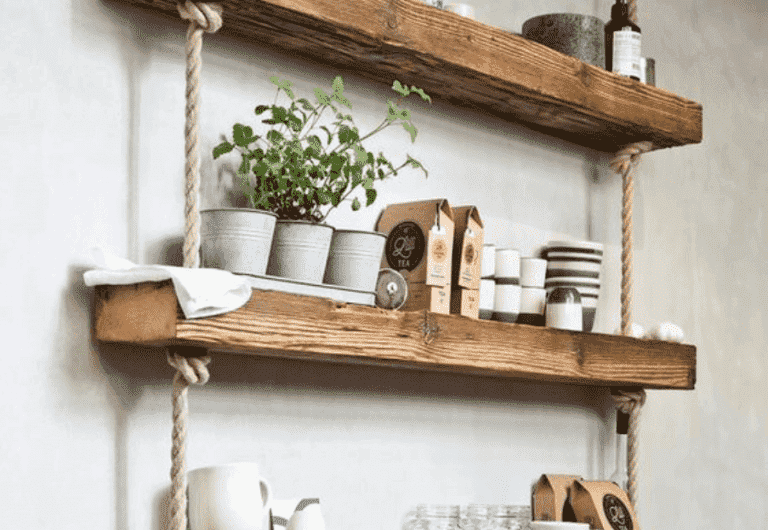 Make Your Own Hanging Rope Shelf