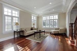 A hardwood floor in a living room.