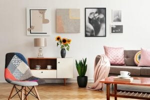 Light furniture in a living room for color combinations