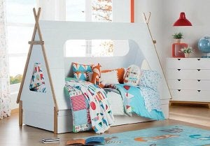 A bed frame that also acts as a teepee.