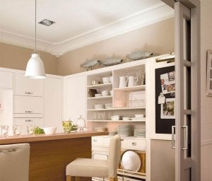A kitchen without a door.
