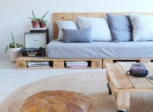 Wooden pallets as a couch support.