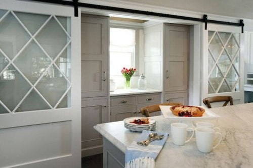 Sliding doors in a kitchen.