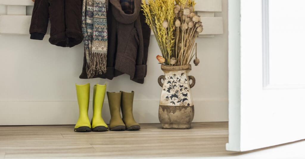 A busy entryway with visual clutter