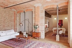 Exposed brick in a home.