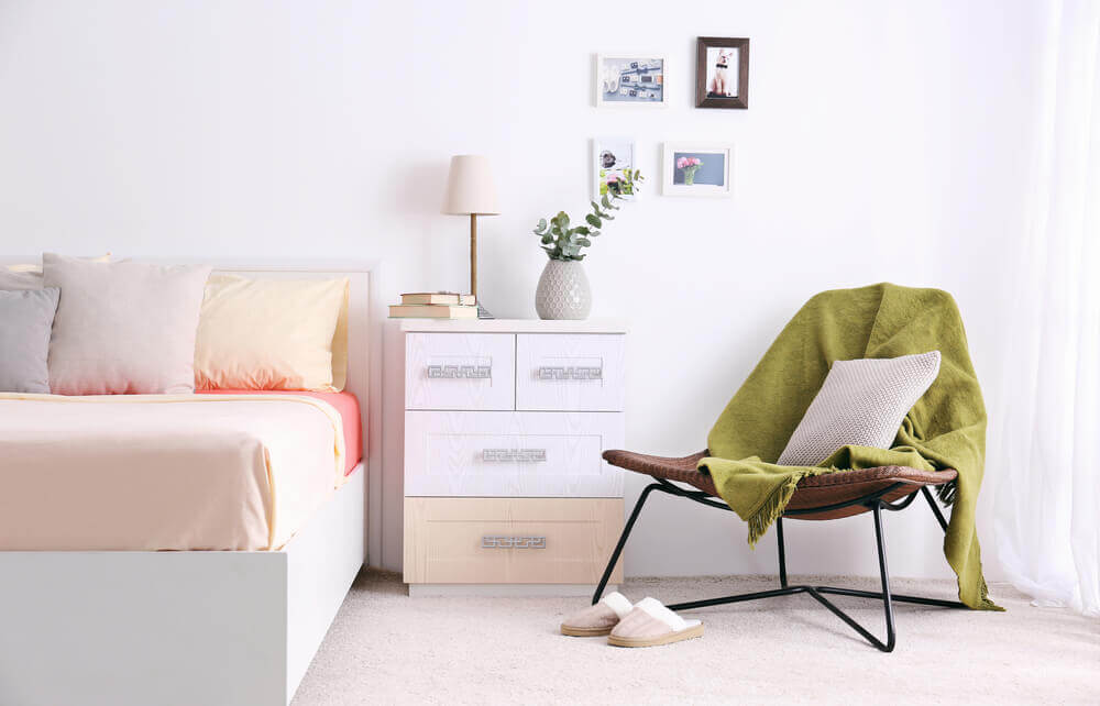 A light-colored room.