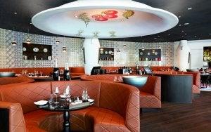 Futuristic restaurant interior.