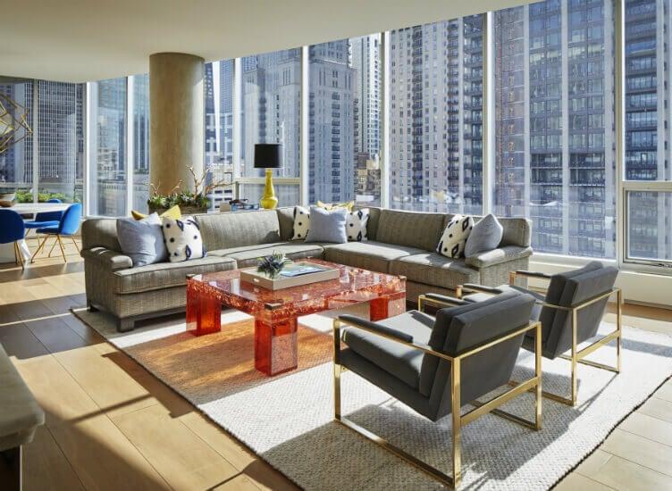 A Nate Berkus living room in a city apartment.