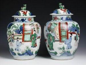 Famille rose enamel vases.