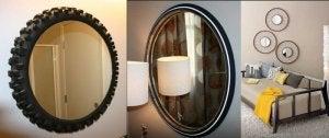 A motorcycle wheel as a mirror frame.