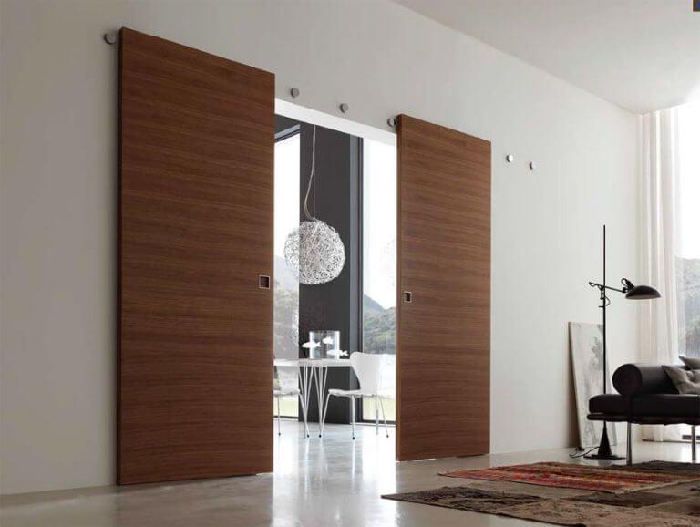 Wooden doors in a living room.