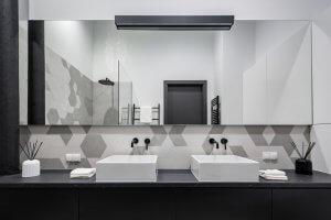 Modern-style bathroom.