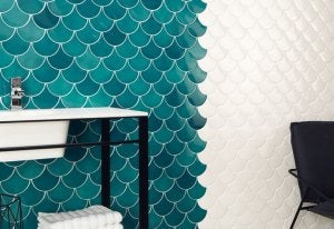 Turquoise and white tiles.
