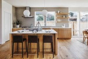 A mid century style kitchen.