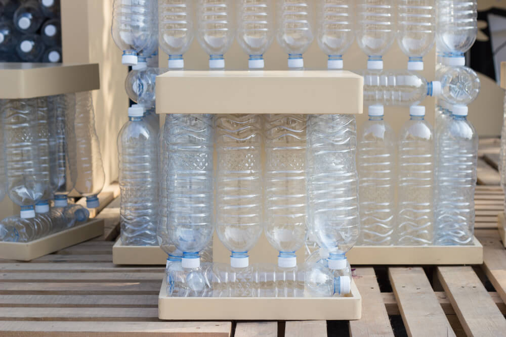 plastic bottles chairs tables
