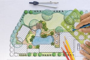 A sketch of a garden to help plan a path.