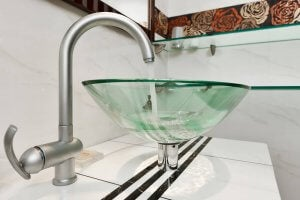 Transparent bathroom sinks are always gorgeous.