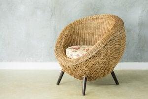 Rattan chair.