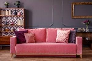 Pink velvet couch.