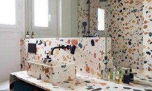 Terrazzo bathroom.