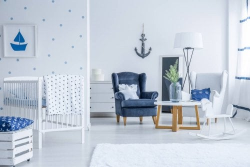 A blue and white room.