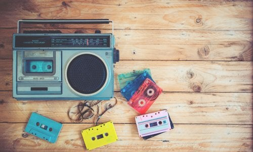 A cassette player and tapes.