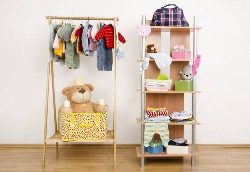 A clothing rack and a shelving system.